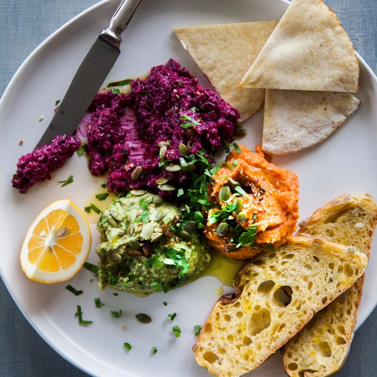 Beetroot yoghurt dip, coriander hummus and roast capsicum bean dip By Nadia Lim