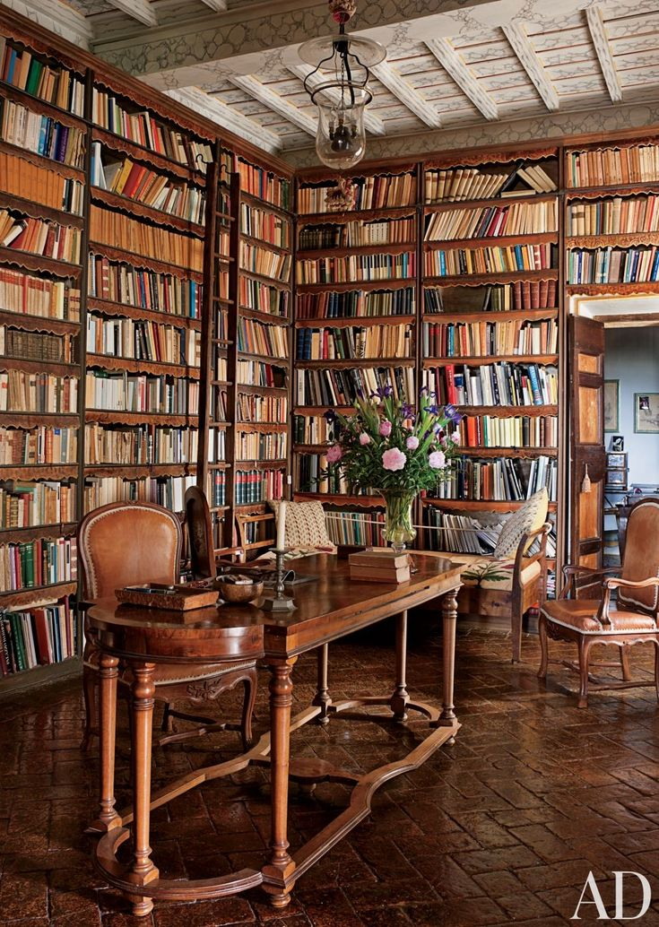 Count Raniero Gnoliu0027s Traditional Office/Library In The Library Of An  Apartment Near Rome, Scalloped Strips Of Hand Decorated Leather Protect  Books From ...