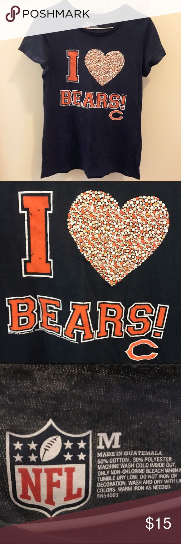 NFL Chicago Bears Tee Shirt Shoe off your Bear pride with this super cute Chicago Bears tee! Adorable polka dotted heart with sparkly rhinestone detail.. in perfect condition! Authentic NFL tee* listed as Nike for exposure Nike Tops Tees - Short Sleeve