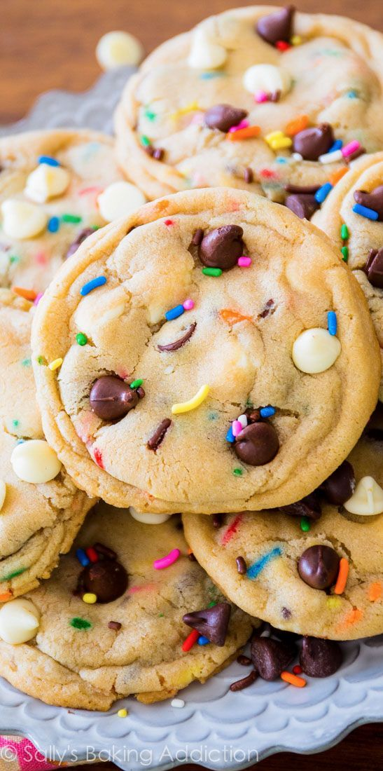 These soft-baked FUN cookies have been in 3 magazines and are the cover of my cookbook. Cake Batter Chocolate Chip Cookies!