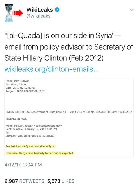 Wikileaks Posts Unclassified Email to Hillary Clinton From Foreign Policy Advisor: 'Al Qaeda is on Our Side in Syria'