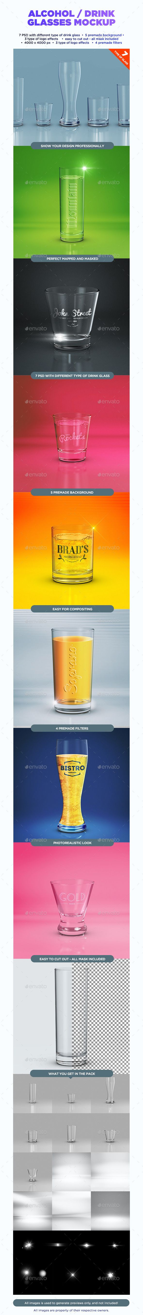 Alcohol / Drink Glasses Mockup  - Food and Drink Packaging