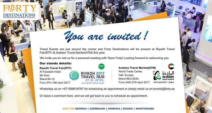 Forty Destinations @ RTF 2017-Riyadh & ATM 2017-Dubai    If you are interested to represent us in your country, become our GSA, resell our products and earn commissions, or launch your own low cost holidays to these fascinating destinations which are extremely high in demand all over GCC, meet us at Riyadh Travel Fair (RTF) 2017, Stand A12 or at Arabian Travel Market (ATM) 2017, Europe Hall, Stand EU8035.  Email - events@forty.ae Whatsapp to meet us : +971588616787  #atm2017 #rtf2017