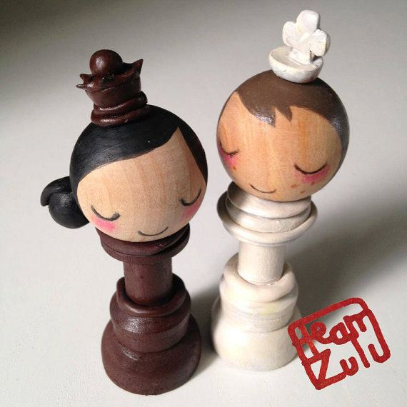 King and Queen Custom Wedding Couple. Custom Portraits. Chess Piece Cake Tops
