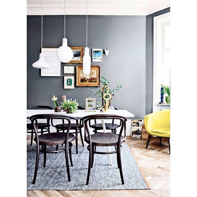 Living room / dining room: Form Pendants by Form Us With Love and Björk rug by Lena Bergström in Swedish magazine Plaza interiör