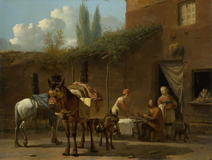 Karel Dujardin   Muleteers at an Inn, Karel Dujardin, c. 1658 - c. 1660   Muilezeldrijvers bij een Italiaanse herberg. Een man zit aan een tafel op de binnenplaats van een herberg en wordt door twee mannen bediend. Links staan twee muilezels en een paard.