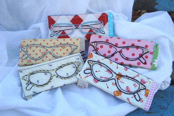 Cutie pie sunglass/eyeglass pouches by VintageAndWhimsy