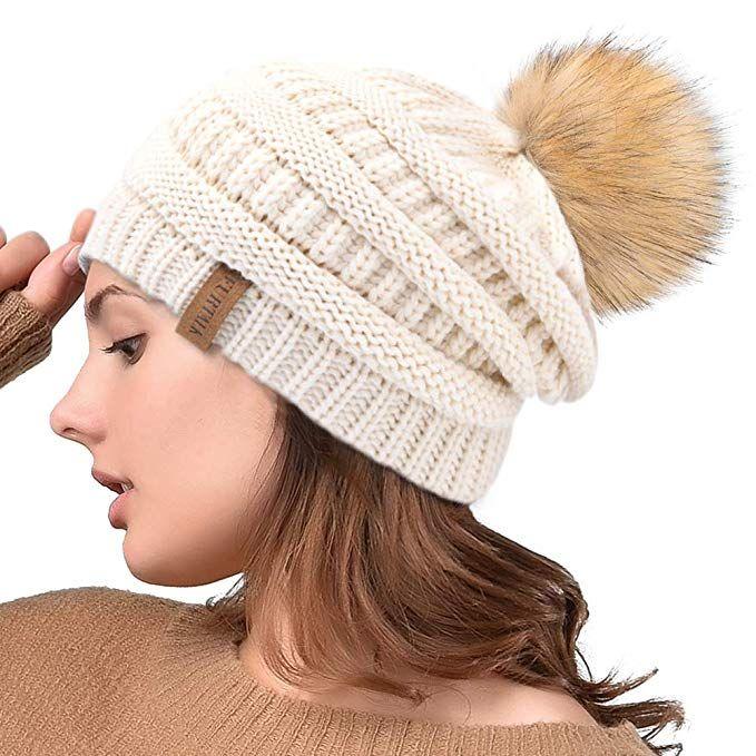 Winter Fur Bobble Pom Pom Hat FURTALK Womens Warm Knit Beanie Hats for Women