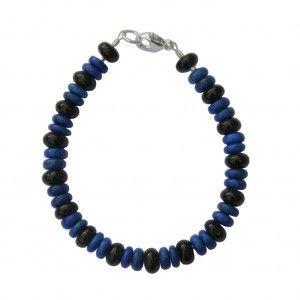 Bracelet Homme et mixte : Lapis lazuli, Tourmaline noire