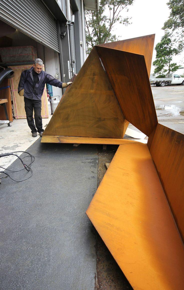 KORBAN/FLAUBERT: OUT, corten/weather steel sculpture at KF metal workshop