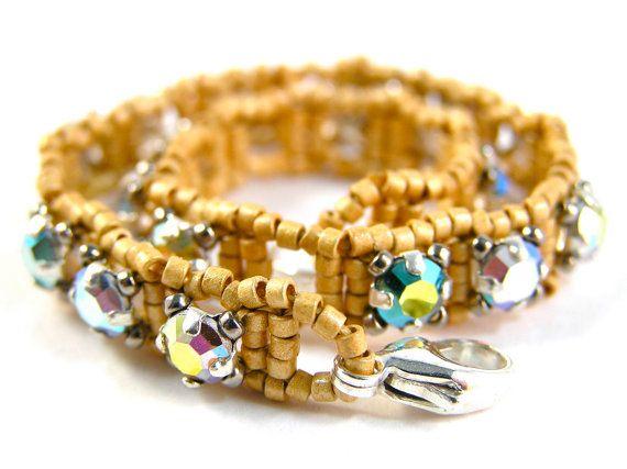 Vintage Rhinestone Montee Bracelet - Beadweaving - Vintage Swarovski Crystal, Glass Beads, & Sterling Silver - Aqua/Gold Colorway by knitbeadlove