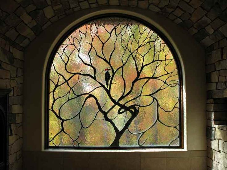 Art Nouveau Stained Glass Tree and Bird
