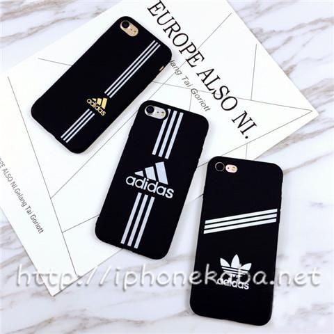 Adidas アイフォンX 8plusケース 高校生 運動風 黒 アディダス iPhone8 ケース ソフト シンプル シリコン ペア  安い