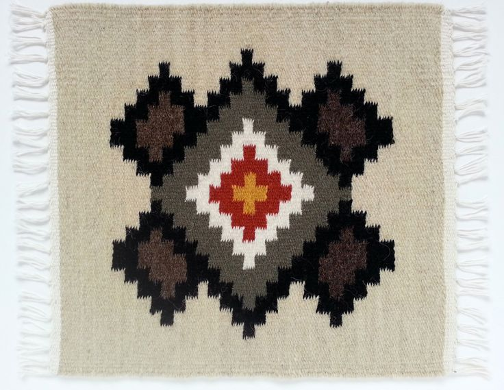 Buy now this hand woven woolen rug with rhombuses - genuine traditional Romanian folk art