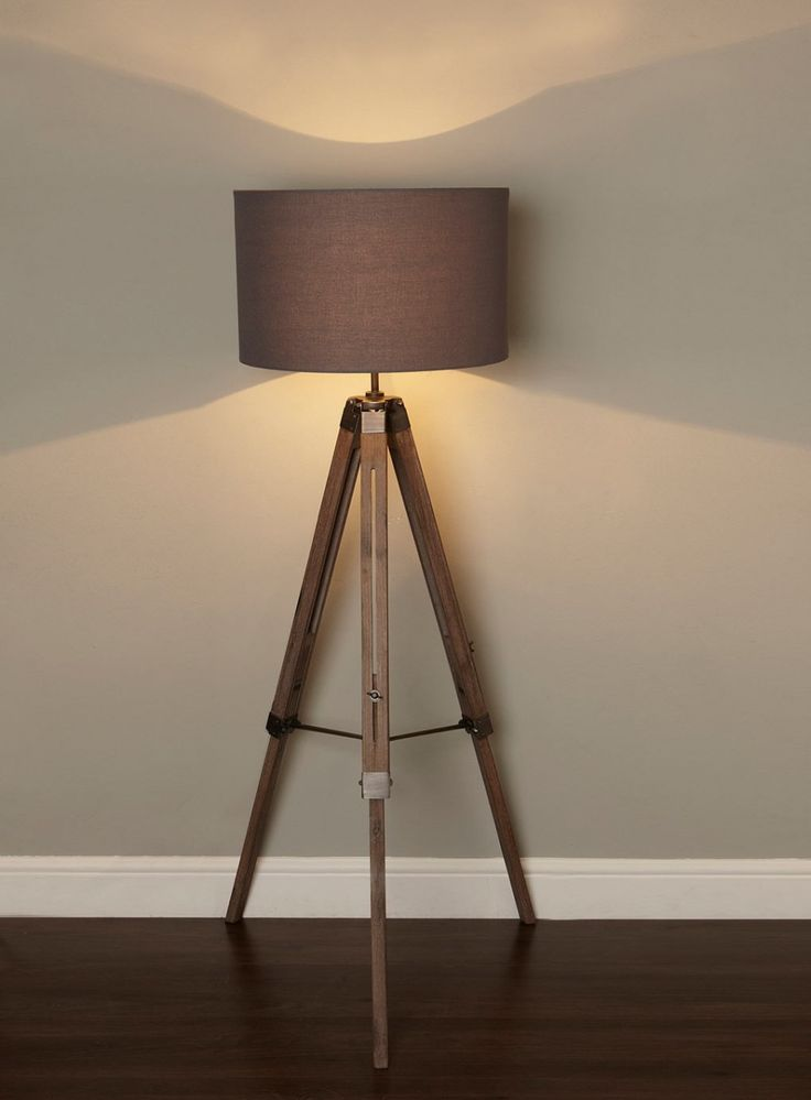 Captivating harley tripod floor lamp with wooden tripod and linen drum lamp shade in dark grey