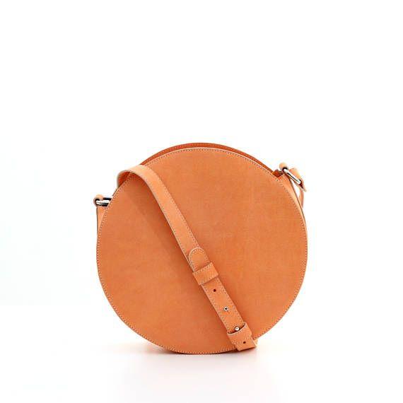 Orange leather circle bag round bag leather crossbody bag