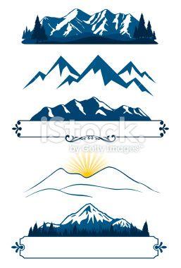 Montagne, Chaîne de montagnes, Sommet, Vectoriel, Silhouette Illustration vectorielle libre de droits