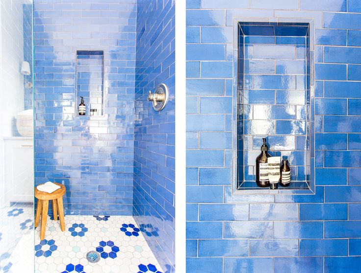 Stunning Sapphire Blue Tile Design For A Small Bathroom In