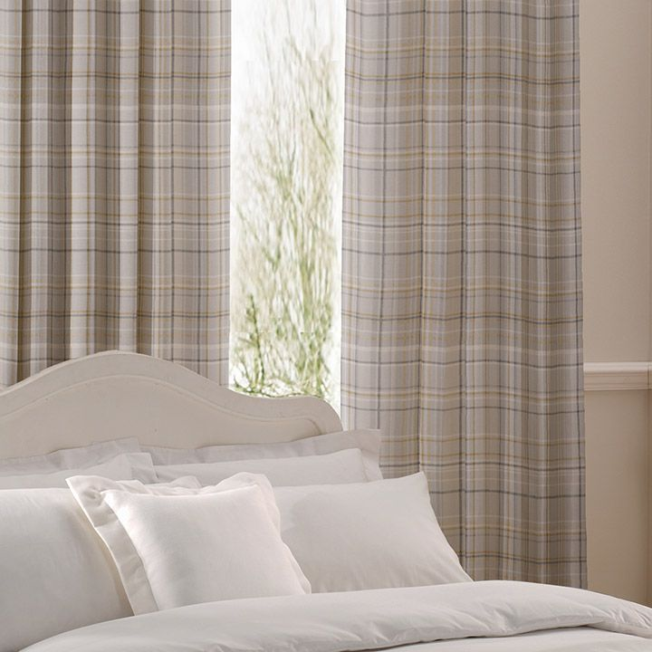 Curtain details for CHECK, OCHRE | Next Made To Measure