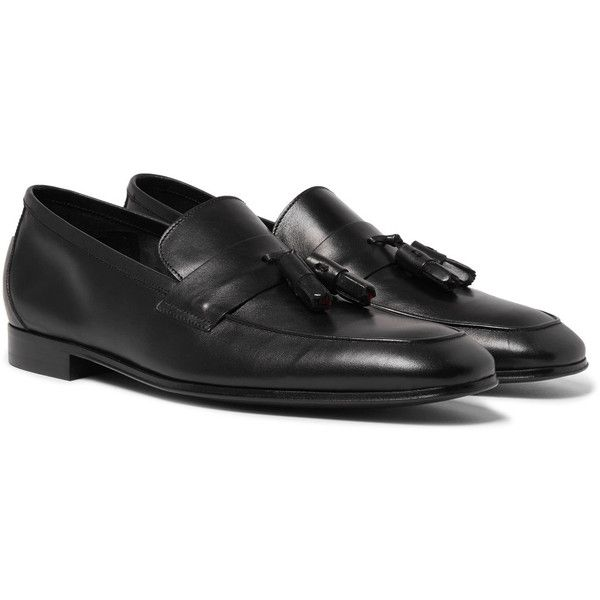 Paul Smith Glynn Leather Penny Loafers ($475) ❤ liked on Polyvore featuring men's fashion, men's shoes, men's loafers, mens tassel loafer shoes, mens tassel shoes, mens black shoes, mens leather loafer shoes and mens penny loafer shoes