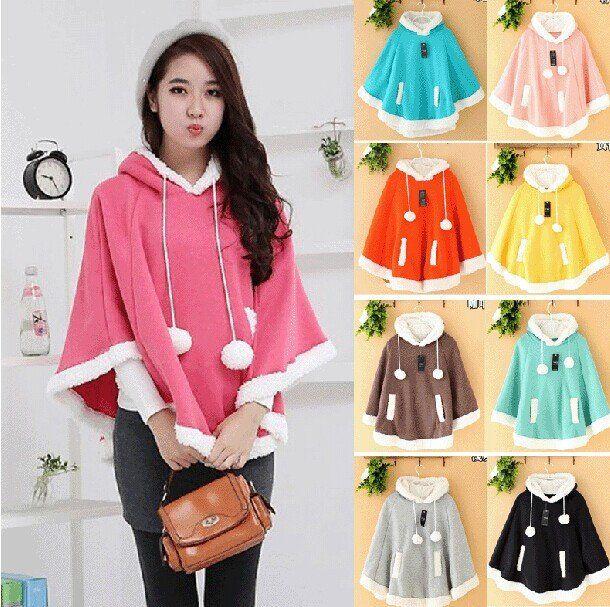 "Japanese kawaii hooded fleece cloak coat  Coupon code ""cutekawaii"" for 10% off"