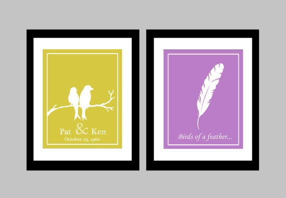 """Personalize your very own wedding anniversary prints with this two-piece set of 8x10 colour prints! Choose the colours that match your room decor perfectly by specifying in the """"note to seller"""" section. They make an excellent wedding or anniversary gift as well!"""
