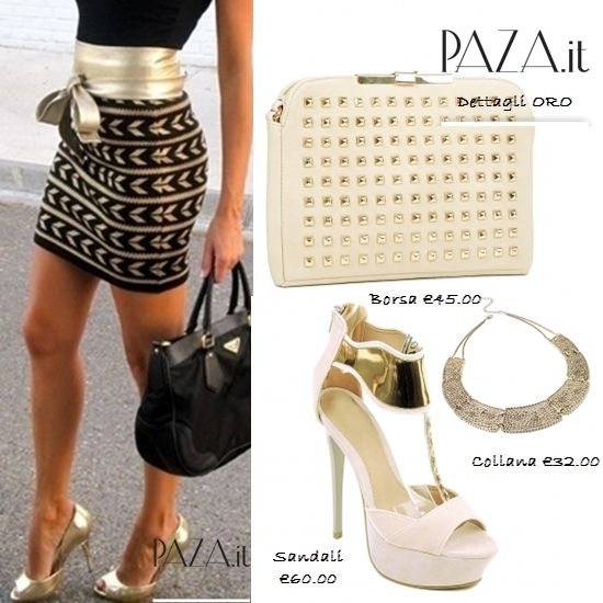 ..Dettagli ORO.. Borsa http://www.paza.it/produkt/6698,latesha-beige-bag Sandali http://www.paza.it/produkt/6483,chamarez-beige-platform Collana http://www.paza.it/produkt/6344,gold-netting-collar