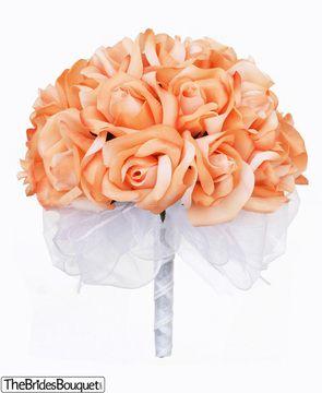For the bridemaids--Peach Silk Rose Hand Tie (2 Dozen Roses) - Bridal Wedding Bouquet