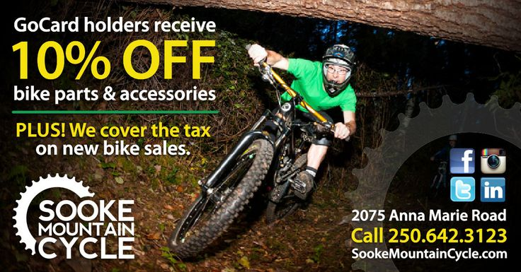 Whether you're a serious cyclist or a weekend warrior, gear up for the ride of your life with your Sooke GoCard. Receive 10% OFF all bike parts & accessories and pay no tax on new bike sales...only at Sooke Mountain Cycle! Get a GoCard here: http://thegocard.ca/buynow #sookegocard #sookemountaincycle