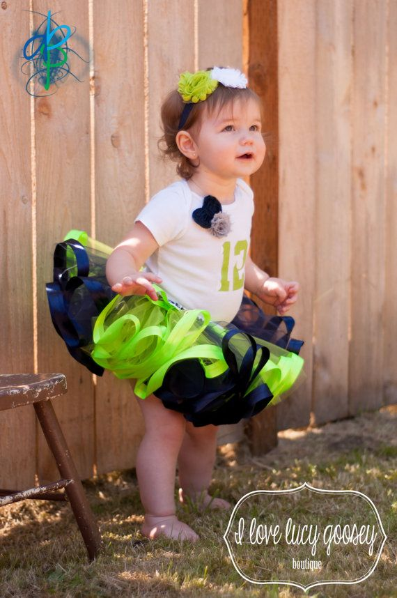 Seattle Seahawks colors inspired tutu and by ILoveLucyGoosey, $35.00