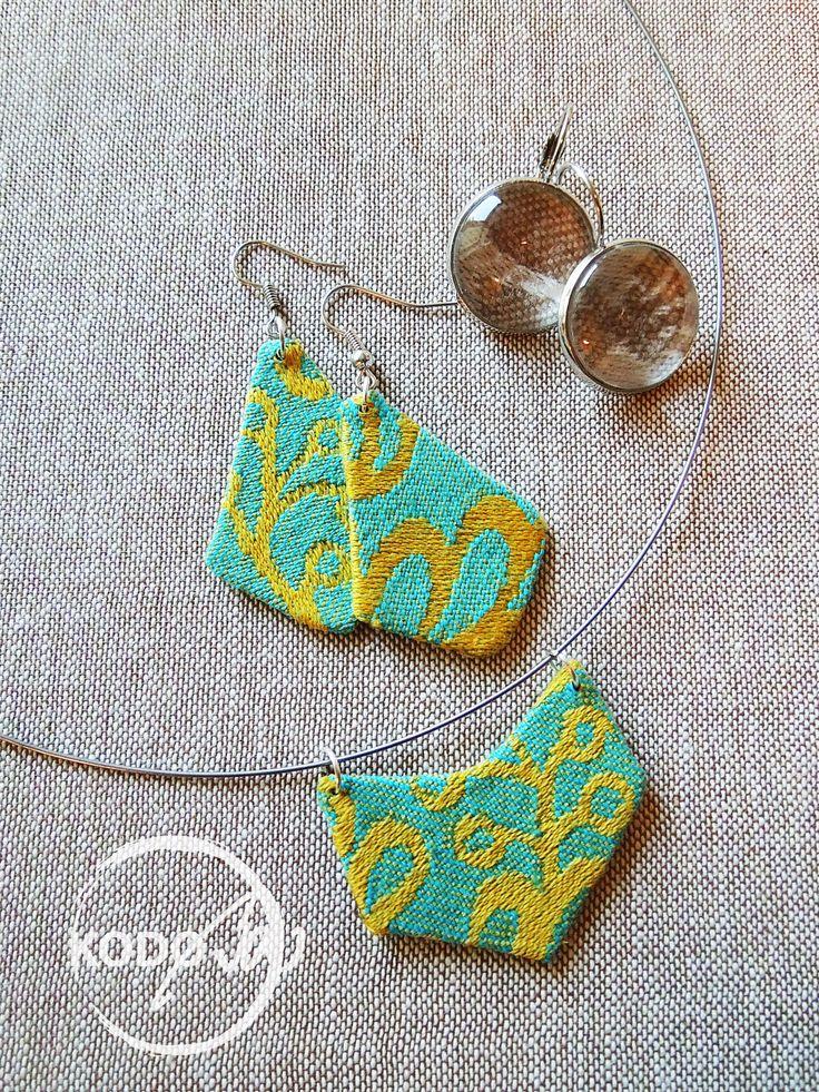 Wrap scrap Earings and pendant with  Omnifera Morava Slavonic Treasure babywearing wrap