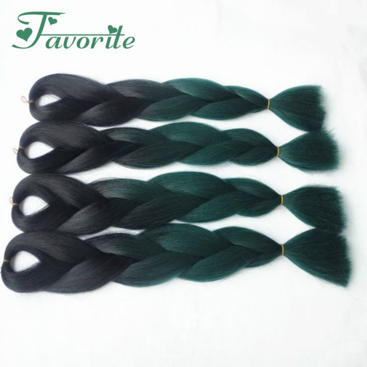 """FREE SHIPPING (3-10ppacks/lot) 24"""" 100g COLORED OMBRE green braiding hair/synthetic 2 tone green braids black + dark green color"""