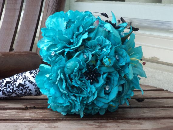 Teal Silk Bridal Bouquet and Grooms Boutonniere / Silk by mtfloral, $135.00