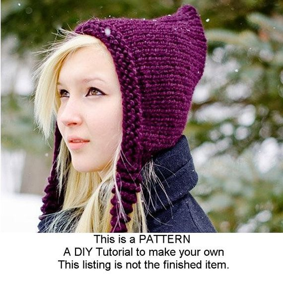 Instant Download Knitting Pattern - Knit Hat Knitting Pattern - Knit Hat Pattern for The Signature Pixiebell Pixie Hat - Chunky Knit on Etsy, $5.00