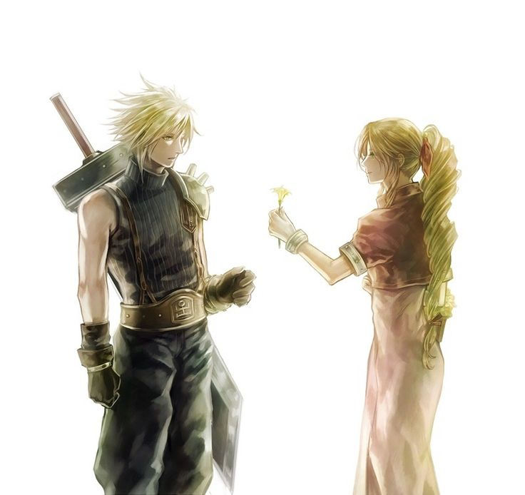 Cloud Strife and Aerith Gainsborough. Fan art. Final Fantasy VII.