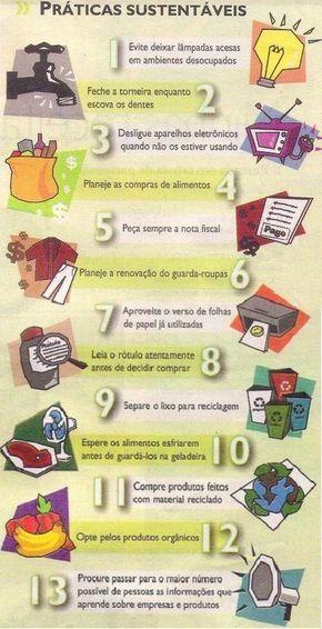 13 práticas sustentáveis #Sustentability