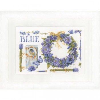 Borduurpakket van een mooie blauwe lavendelkrans met pimpelmees, ontworpen door Marjolein Bastin.