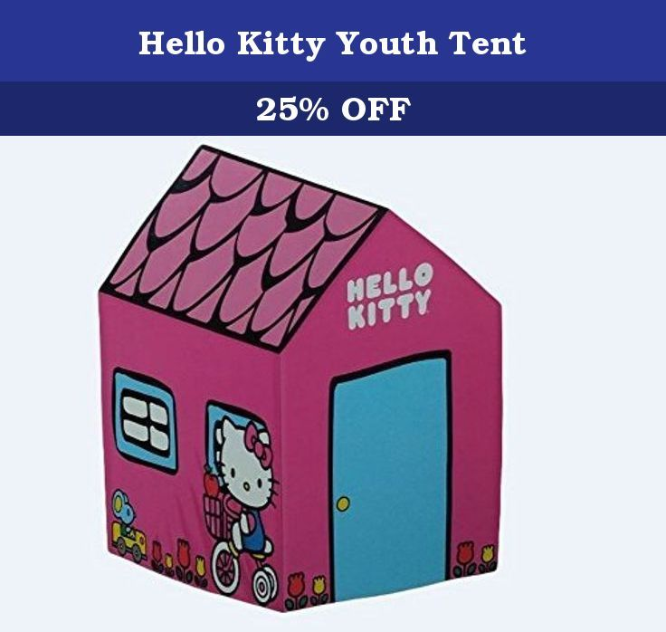 "Hello Kitty Youth Tent. Hello Kitty tent features a dome tent with fiberglass poles for easy set up and tear down. Features mesh ceiling and rain fly. Age range: 4 & up, tent Dimensions: 48"" L x 36"" w x 36"" H."