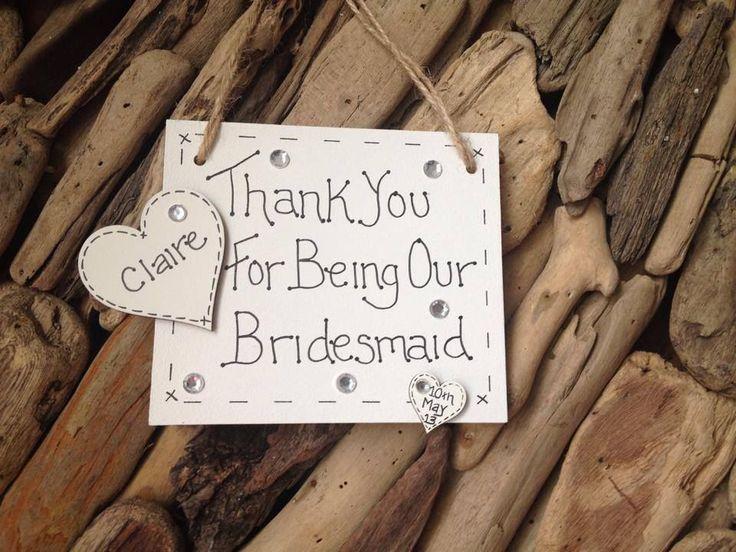 Wedding Thank You s Personalised Bridesmaid Pageboy Mum Gift Keepsake Handmade