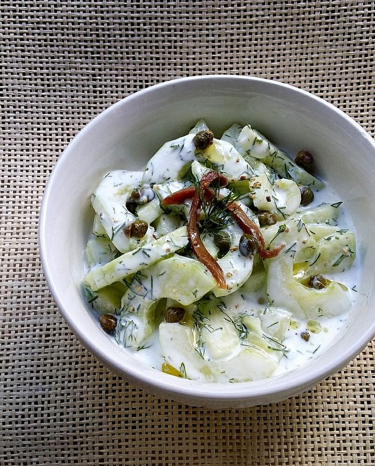 Scrumptious South Africa | Cucumber, Dill & Yoghurt Salad with Capers and Anchovies  #lowcarb