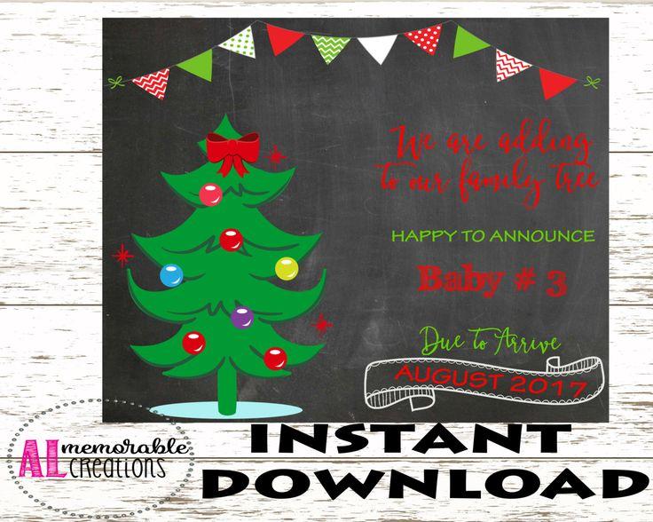 Christmas Pregnancy Announcement/Third Baby Announcement/Expecting Third Baby Sign/Dated August 2017/Pregnancy Chalkboard Photo Prop/Digital by ALMemorableCreations on Etsy