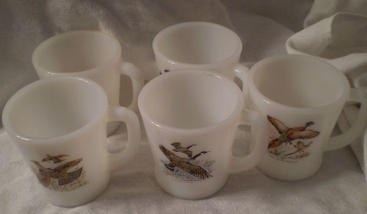 Fire King D Handle Cups Game Birds (5) Pheasant Goose Grouse
