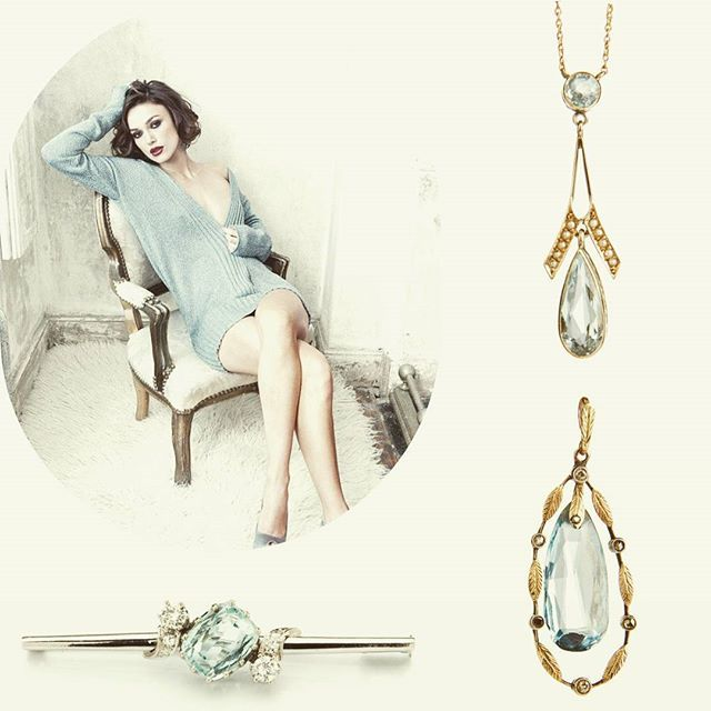 #antique #jewellery #desa #keiraknightley #normanjeanroy #amazing #gift #with #aquamarine  #diamonds #beauty #vogue