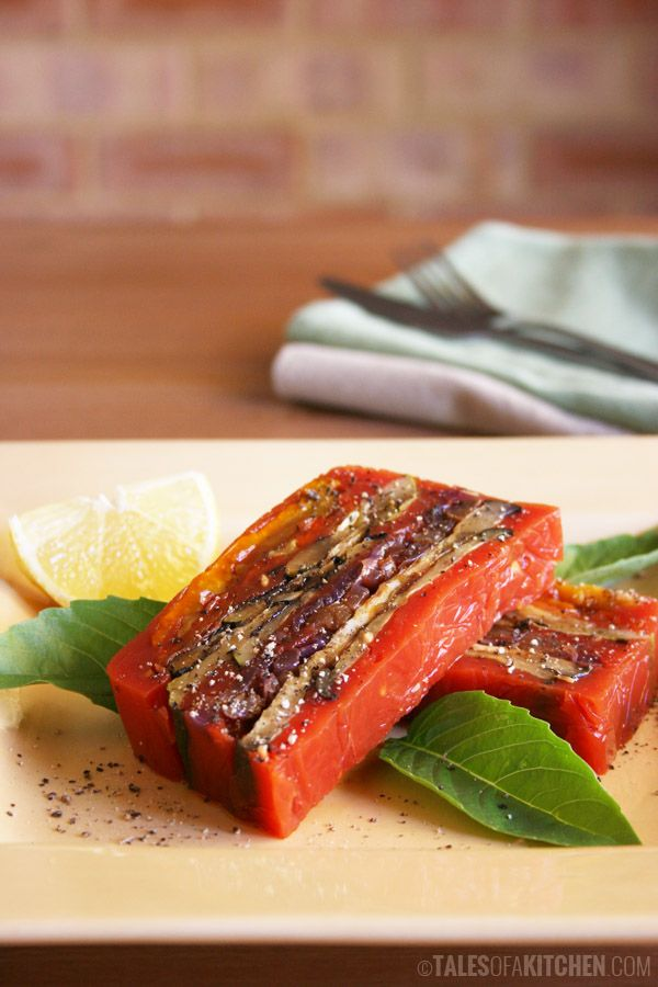 Have you ever made terrine? You should definitely try this! Grilled vegetable terrine in tomato sauce.