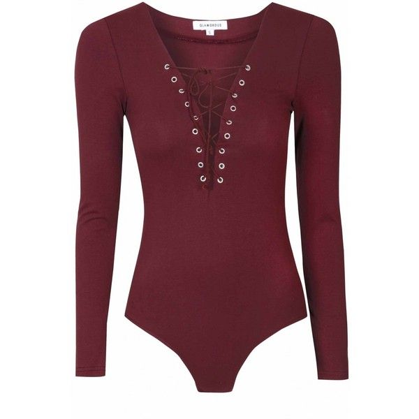 Burgundy Lace Up Body ($31) ❤ liked on Polyvore featuring tops, shirts, long sleeve tops, purple body suit, purple shirt, body suit and long sleeve lace up bodysuit