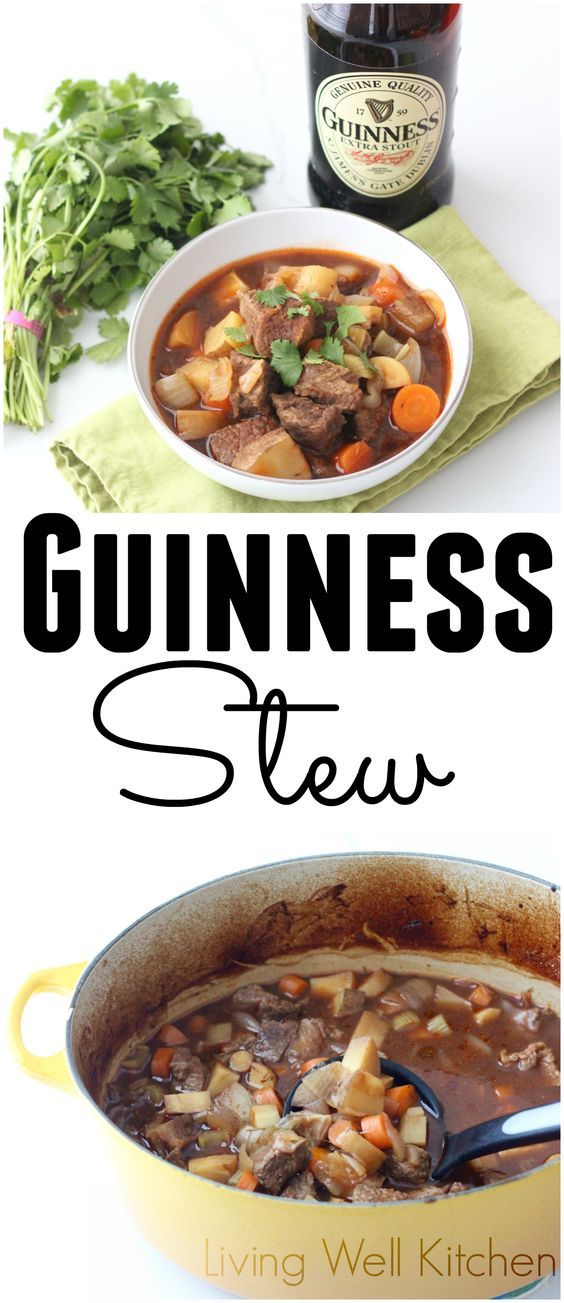 A hearty stew full of meat, potatoes, veggies, and Guinness with a rich broth. Guinness Stew from Living Well Kitchen @memeinge. Fun recipe for St. Patrick's Day or for a cold weather meal. #stpatricksday #stew #beef #beer #dairyfree