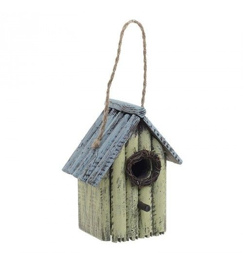 WOODEN BIRD HOUSE IN BLUE_GREEN COLOR 15X11X20