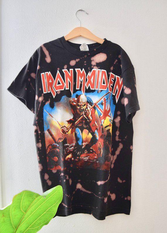 e0a99456 Vintage Acid wash, Iron Maiden Bleached tee   Band Shirt Designs ...