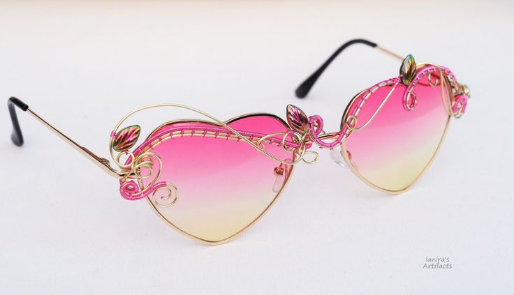 Heart sunglasses/Boho sun glasses/Hippie accessories/Wire wrapped bohemian/Festival sunglasses/Spring/Eyewear/Wearable art/Pink/Fashion by Ianira on Etsy