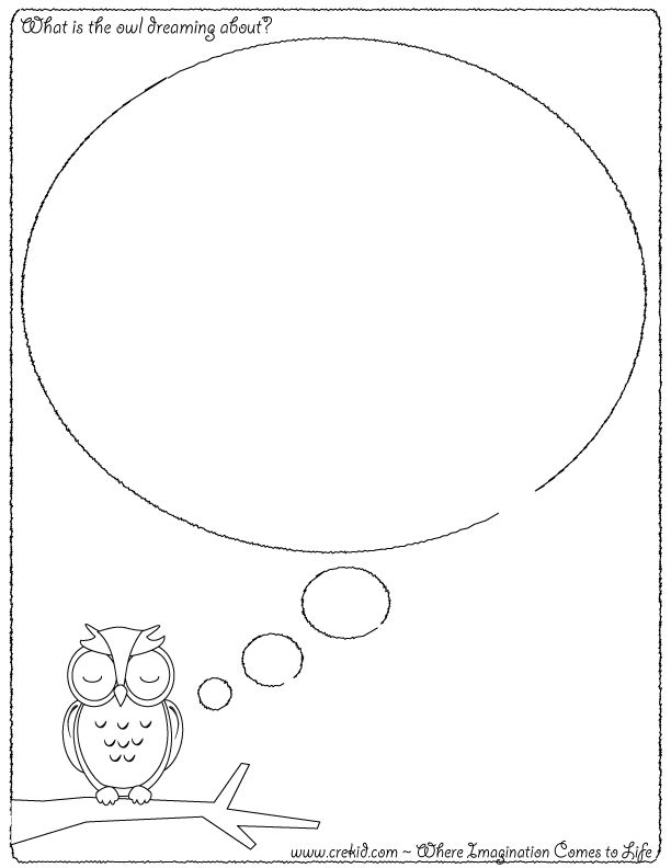 What is the owl dreaming about? CreKid.com - Creative Drawing Printouts - Spark your child's imagination and creativity. So much more than just a coloring page. Preschool - Pre K - Kindergarten - 1st Grade - 2nd Grade - 3rd Grade. www.crekid.com